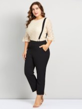 Plus Size Lace T-Shirt & Suspenders Women's Two Piece Set