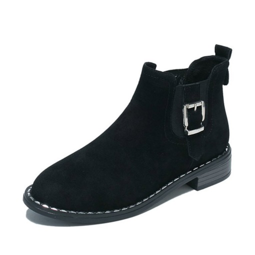 Round Toe Block Heel Patchwork Elastic Casual Chic Ankle Boots