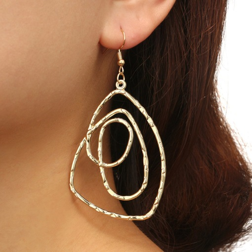 Hollow Out Spiral Geometric Metal Alloy Earrings
