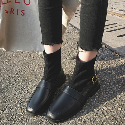 Slip-On Patchwork Square Toe Block Heel Stylish Ankle Boots