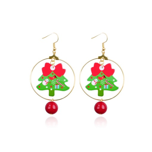 Christmas Tree with Bell Pendant Party Drop Earrings
