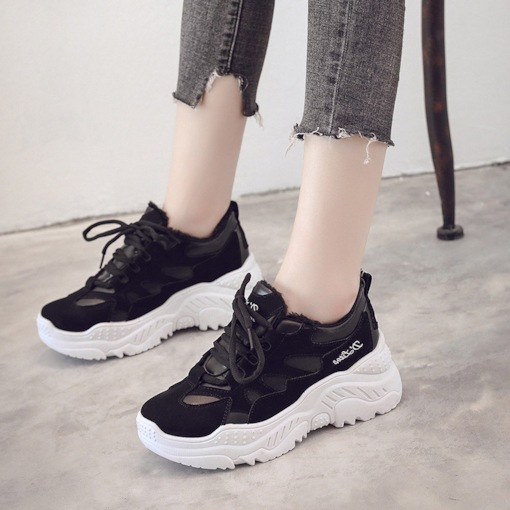 Low-Cut Upper Platform Lace-Up Round Toe Patchwork Chic Sneakers