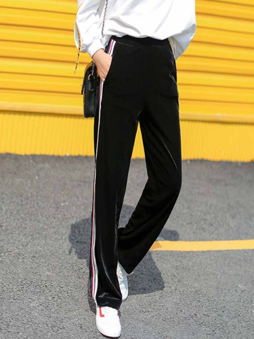 Stripe Velvet Sports Women's Long Pants