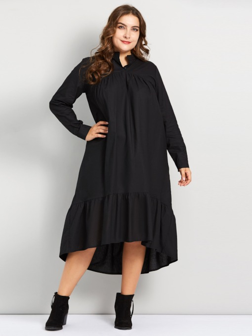 Asymmetric Stand Collar Women's Long Sleeve Dress