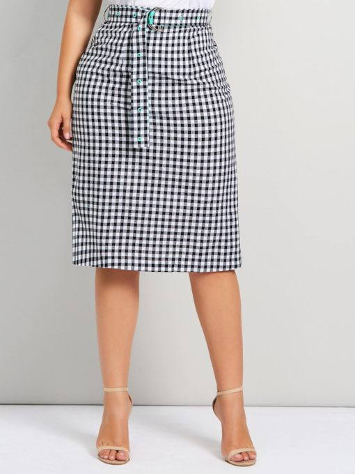 Belt Knee-Length Pencil Skirt Mid-Waist Plaid Women's Skirt