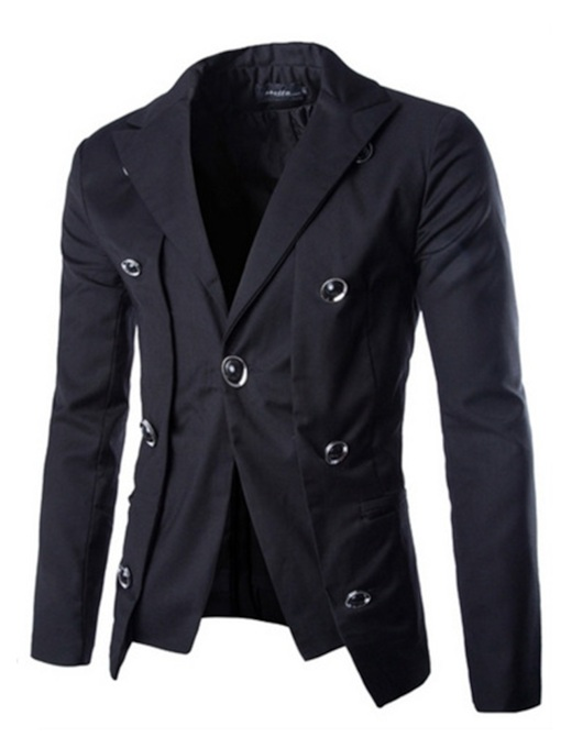 Slim Plain Notched Lapel Men's Blazer