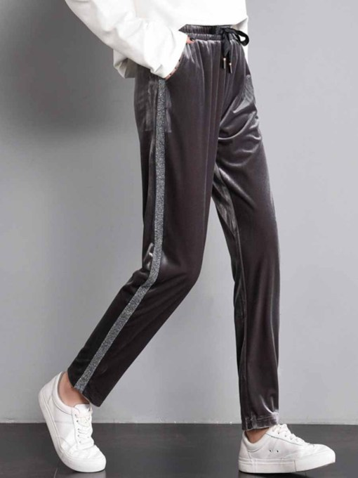 Velvet Pockets Loose Pants for Women