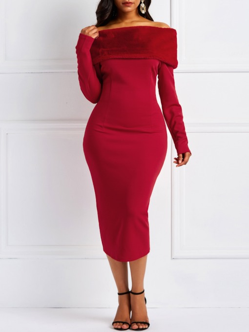 Long Sleeve Slash Neck Elegant Women's Bodycon Dress