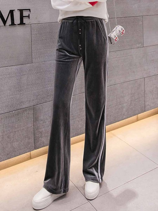 Gold Velvet Pockets Wide Leg Pants for Women