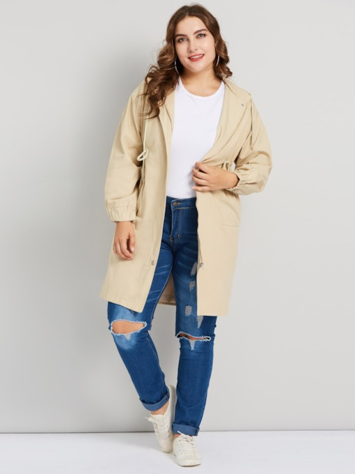Trench-coat femme à capuche mi-long à lacets
