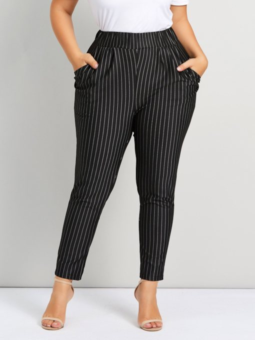 Plus Size Slim Elastics Stripe Straight Women's Casual Pants
