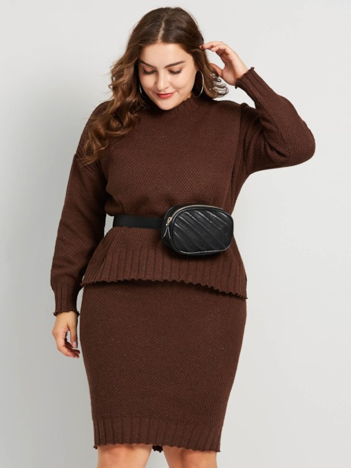 Plus Size Casual Straight Women's Two Piece Sets
