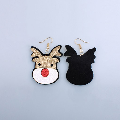 Cartoon Reindeer Shape Golden Drop Earrings Christmas Gift