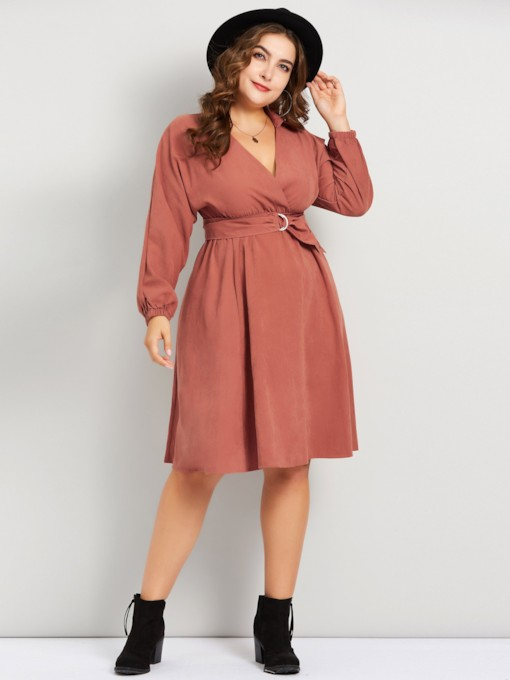 Plus Size Belt V-Neck Women's Long Sleeve Dress
