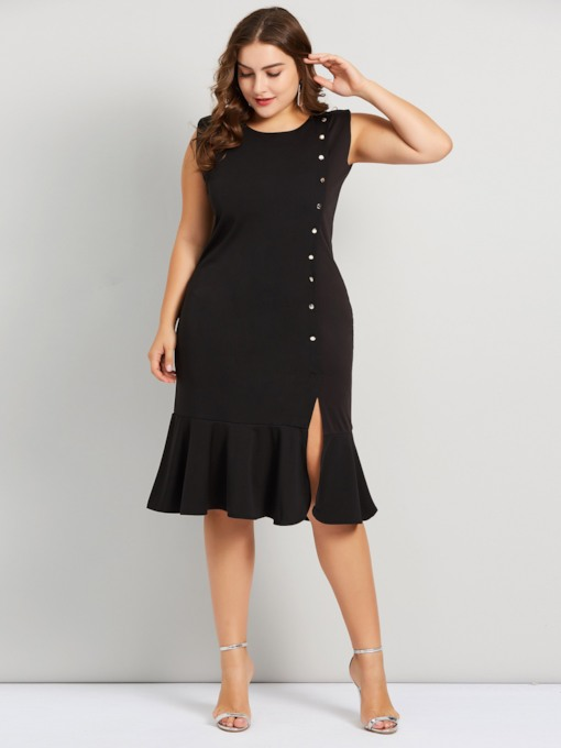 Plus Size Sleeveless Button Women's Day Dress