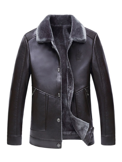 Slim Plain Fur Lapel Men's Leather Jacket