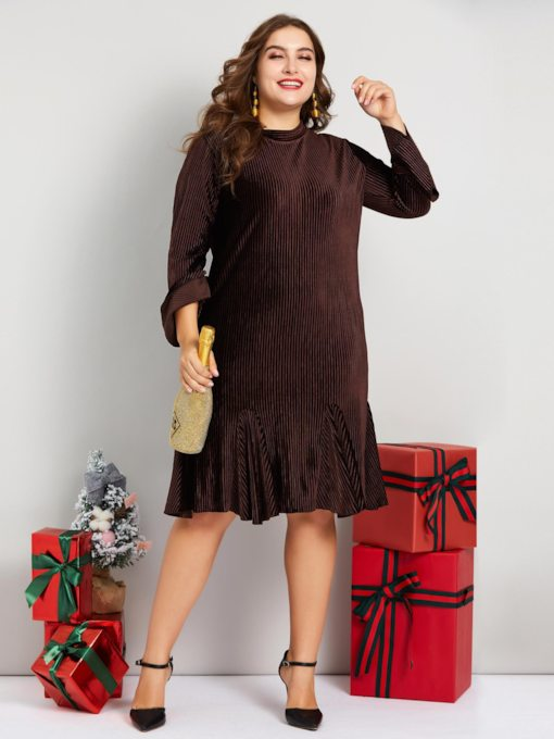 Plus size Pleated Stand Collar Women's Long Sleeve Dress