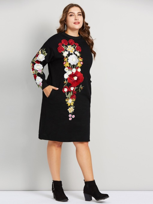 Embroidery Straight Women's Long Sleeve Dress