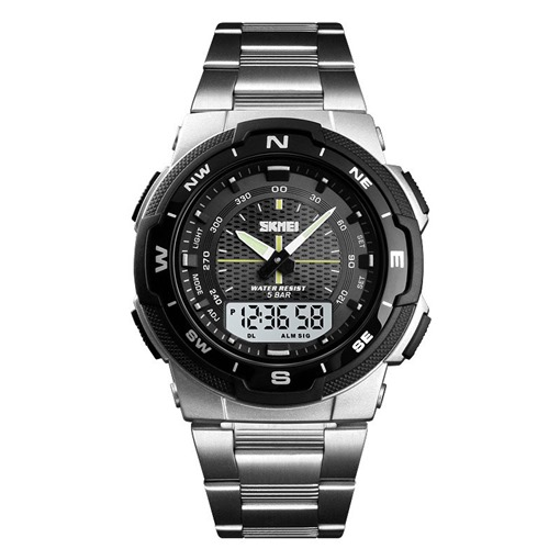 Glass Analog-Digital Dial Alarm Stainless Steel Watches