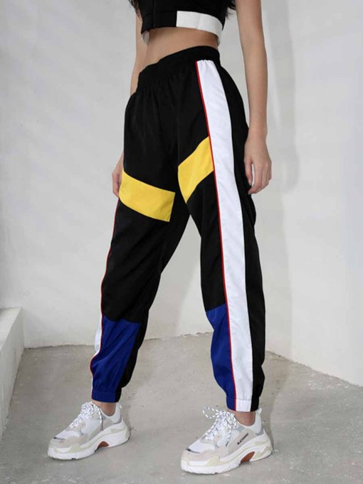 Color Block High Waist Sports Pants for Women