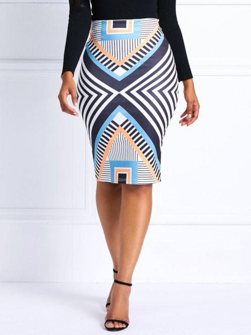 Geometric Print High-Waist Women's Bodycon Skirt