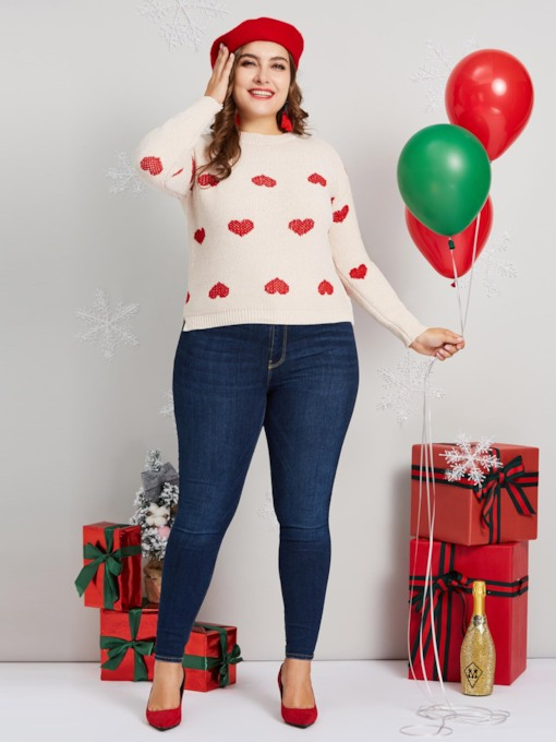 Christmas Round Neck Heart Shaped Plus Size Women's Sweater