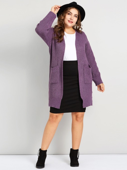 Dual Pockets Plus Size Women's Cardigan