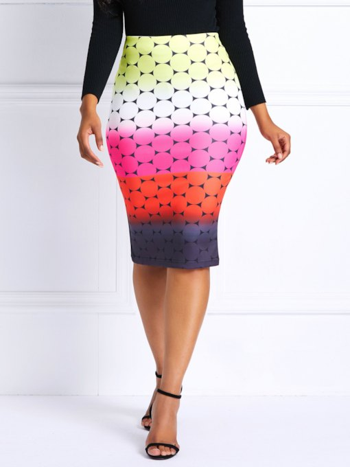 Color Block Print Knee-Length High-Waist Women's Skirt