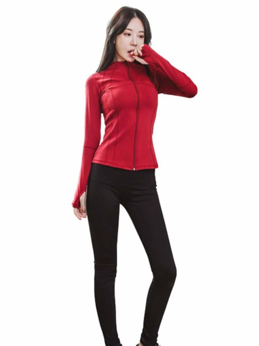 Zipper Slim Long Sleeves Sports Set for Women