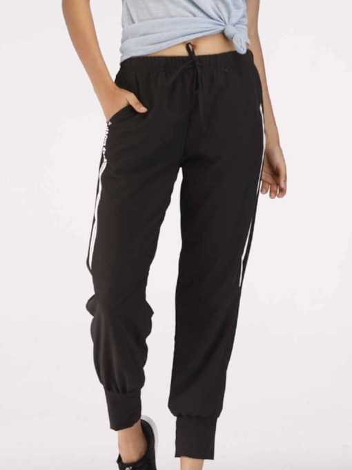 Stripe Solid Sports Women's Long Pants