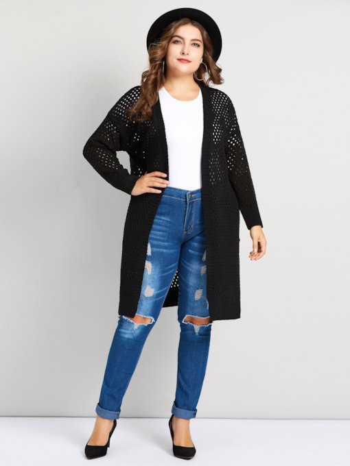 Wrapped Hollow Mid-Length Plus Size Women's Cardigan