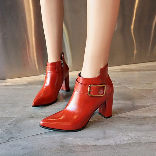 Chunky Heel Pointed Toe Side Zipper Plain Buckle Chic Boots