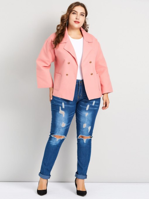 Double-Breasted Notched Lapel Plus Size Women's Jacket