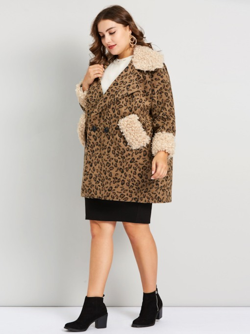 Faux Fur Leopard Plus Size Women's Overcoat