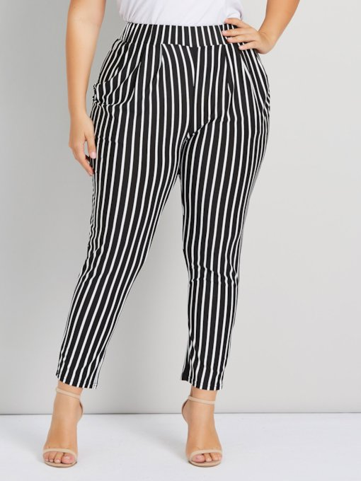 Plus Size Slim Stripe Elastics Straight Women's Casual Pants