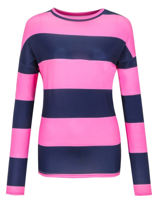 Scoop Neck Color Block Stripe Mid-Length Women's T-Shirt