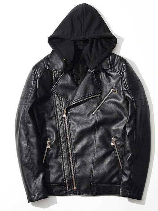 Hooded Zipper Plain Slim Men's Leather Jacket