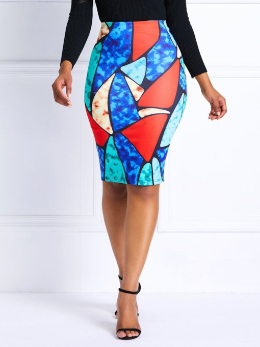 Geometric High-Waist Women's Skirt