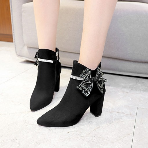 Pointed Toe Chunky Heel Side Zipper Bow Rhinestone Women's Ankle Boots