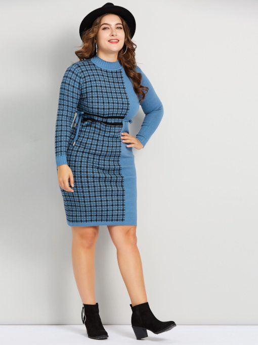 dc46b49932c Plus Size Patchwork Long Sleeve Women s Sweater Dress