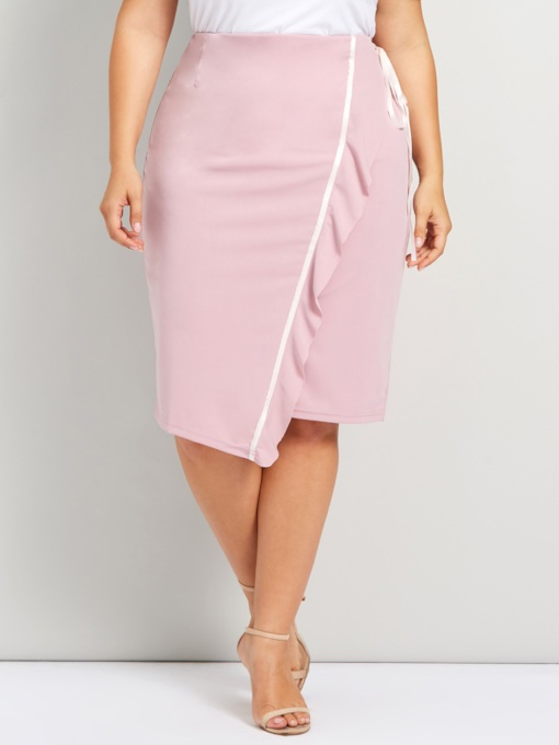 Plus Size Stringy Selvedge Mid-Calf High-Waist Women's Pencil Skirt