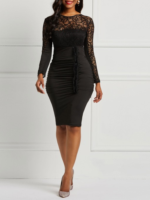 Long Sleeve Lace Plain Women's Bodycon Dress