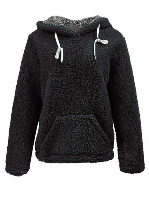 Plain Fluffy Drawstring Teddy Women's Hoodie