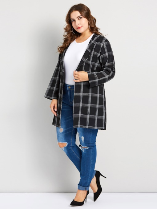 Wrapped Mid-Length Notched Lapel Plus Size Women's Trench Coat