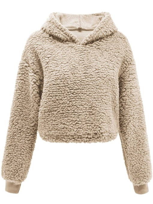 Fluffy Plain Pullover Teddy Women's Hoodie