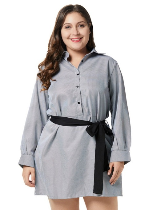 Button Single-Breasted Women's Long Sleeve Dress