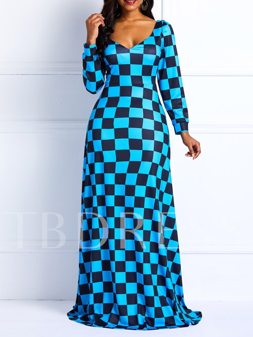 Print V-Neck Color Block Women's Maxi Dress