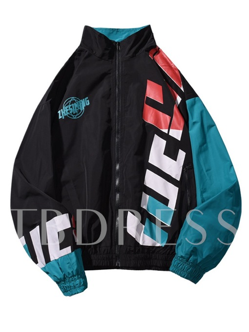 Stand Collar Loose Zipper Letter Prined Men's Jacket