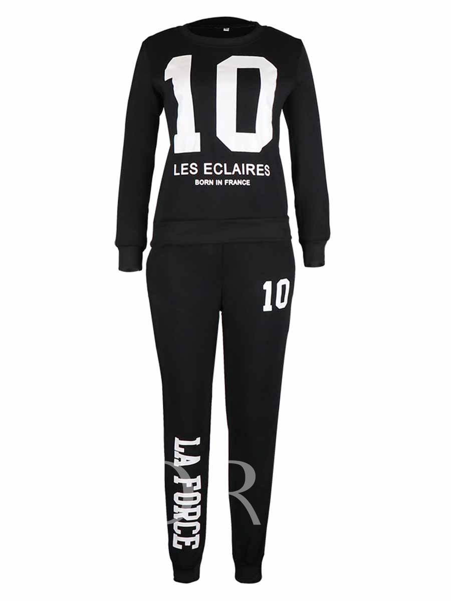 Plus Size Letter Number Long Leisure Set for Women