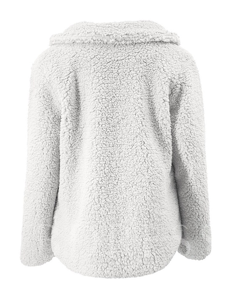 Thick Fluffy Double-Breasted Long Sleeve Women's Teddy Jacket